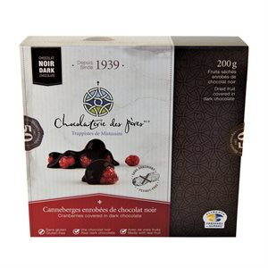 Chocolaterie des Pères Trappistes - Cranberries Covered Dark Chocolate 200g